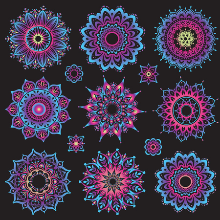 Set of mandalas. Round Ornament Pattern