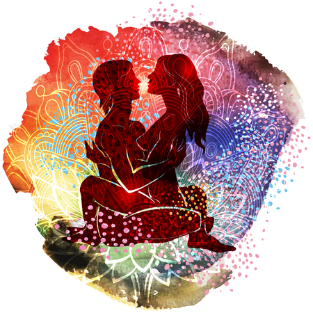 Couple practicing tantra yoga an watercolor pattern
