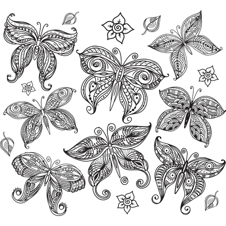 sketch: Set of butterfly in doodle style.