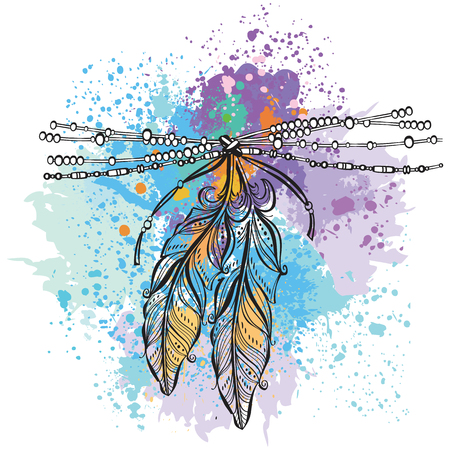 rainbow: Two feathers in colorful background.