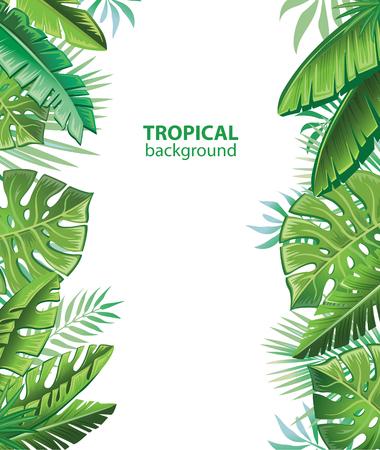 Tropical leaves and plants Иллюстрация
