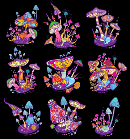 Groups of decorative mushrooms Stock Illustratie