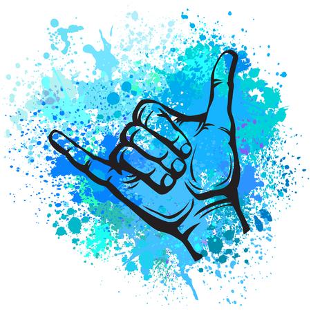 Shaka hand sign Vectores
