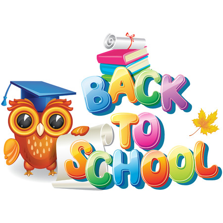 Wise owl near the Back to school text