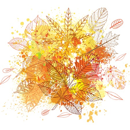 spot: Paint splashes and autumnal leaves