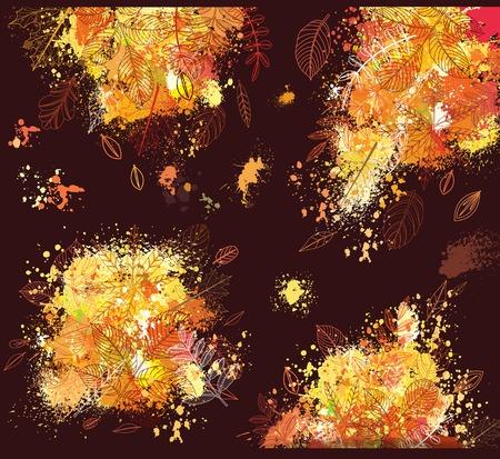 Paint splashes and autumnal leaves illustration.