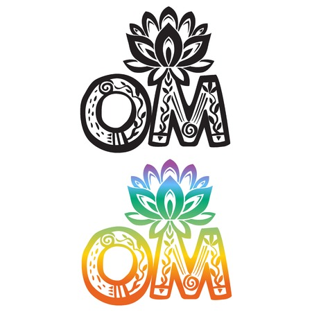 Word OM with lotus flower silhouette
