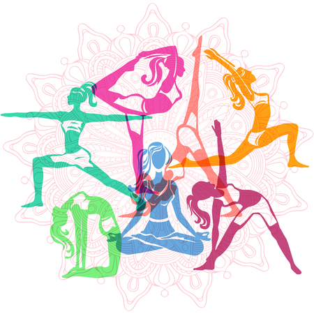 Set of Girls in yoga poses Illustration