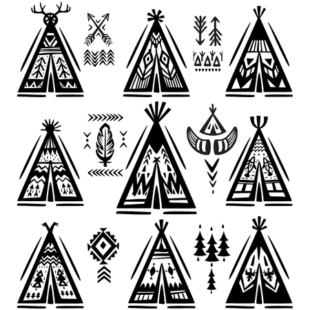 Set of tee-pee or wigwams with ornamental elements 일러스트