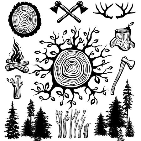 Trendy hipster lumberjack Vector illustration. Vettoriali