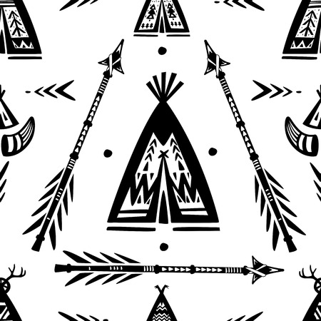 Pattern with tee pee wigwam and arrows illustration. Illustration