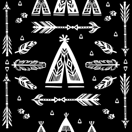 Seamless pattern with wigwams, arrows and feather