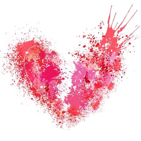 Broken heart made of spray and drops. Illustration