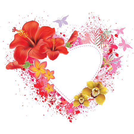 Greeting card with flowers and butterflies on the spray background