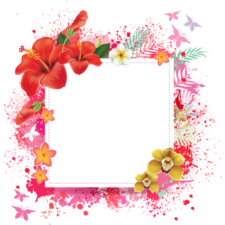 Colorful floral card with place for text. Illustration