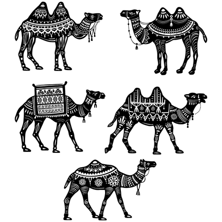Set of stylized figures of decorative Camels Stock Illustratie