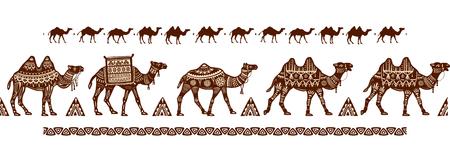 Camel caravan Seamless pattern with ethnic motifs  イラスト・ベクター素材