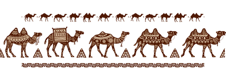 Camel caravan Seamless pattern with ethnic motifs Illustration