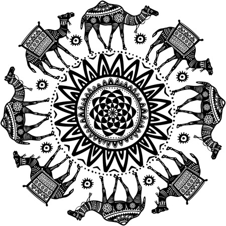Round Ornament Pattern with camel