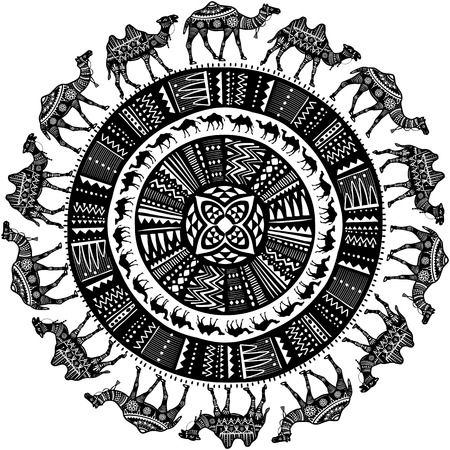 Round pattern with black and white decorated Camels