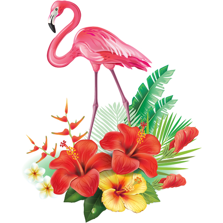 Arrangement from tropical flowers, leaves and Flamingoes Illustration