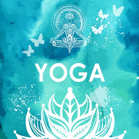 Man in lotus yoga pose on watercolor background Ilustrace