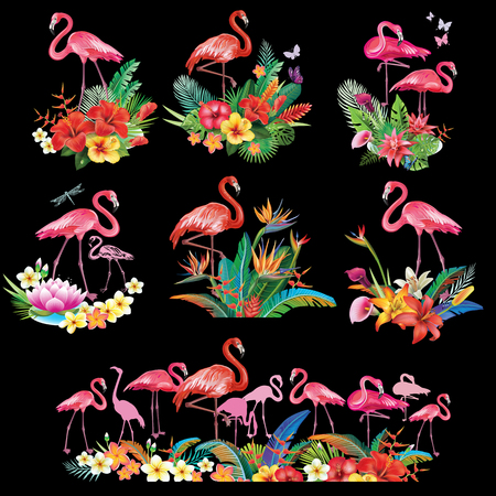 Arrangement from tropical flowers and Flamingoes