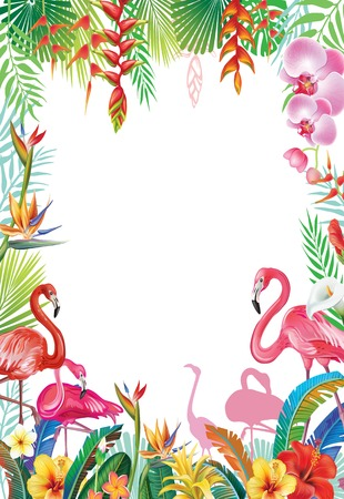Frame from tropical flowers and Flamingoes