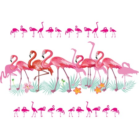 Set of borders with Flamingoes and tropical leaves Banque d'images - 121829214