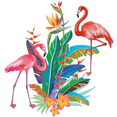 Flamingoes with arrangement from tropical flowers and leaves Banque d'images - 121829215