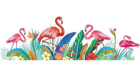 Flamingoes with tropical flowers and leaves Banque d'images - 121828002