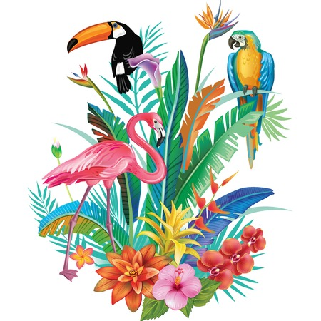 Composition of Tropical Flowers and Birds 向量圖像