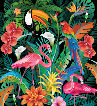 Composition of Tropical Flowers and Birds Illustration