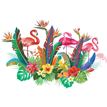 Composition from tropical flowers and Flamingoes Banque d'images - 121823411