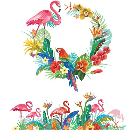 Frame and border from tropical flowers, leaves and Flamingoes Banque d'images - 115214389