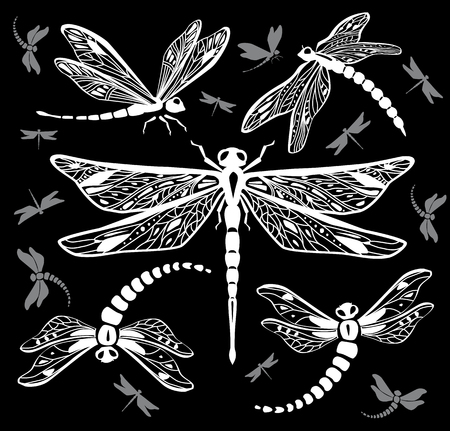 Set of decorative dragonflies