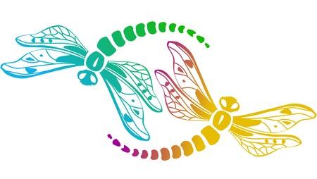 Two decorative dragonflies Illustration