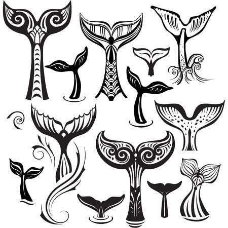 Set of Stylized Tails of a Whale. Black and white Illustration