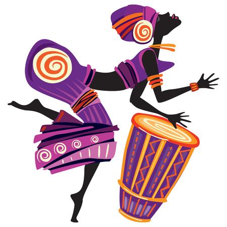 Mujeres afro bailando. Concepto bailarina en estilo decorativo