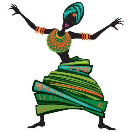 Afro women dancing. Concept dancing girl in decorative style
