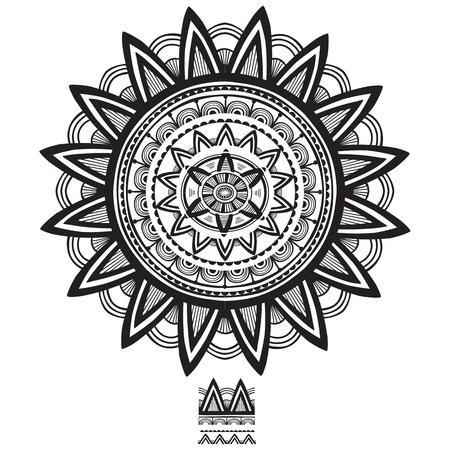 Round Ornament Pattern with Pattern brash. Vector illustration Illustration