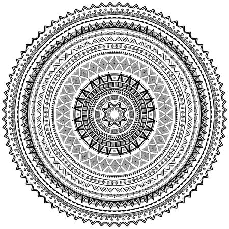 Okrągły wzór ornamentu w plemiennym stylu etnicznym