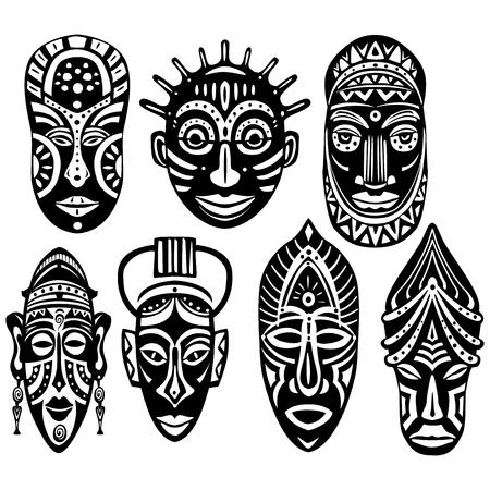Set of Tribal African Masks