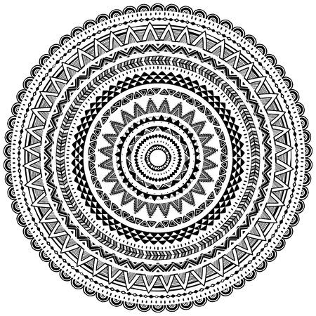 Ornamento rotondo in stile etnico tribale Elementi di design per cornici, bordi, sfondi