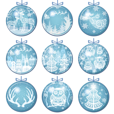 Set of Merry Christmas and New Year decorations with Christmas Balls