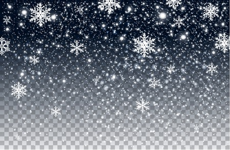 Winter falling snow on transparent background
