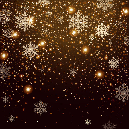 Winter falling snow background. Design element. Can be used for New Year or Christmas greeting card Ilustração