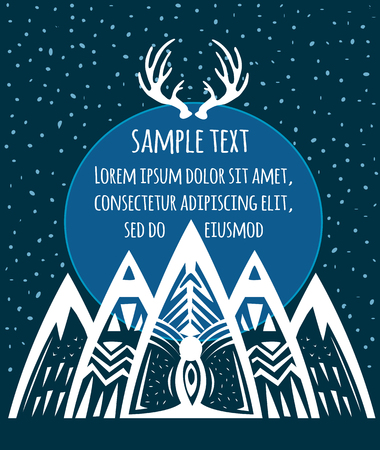 Composition of geometric mountains. Suitable for T-shirt design, home decor elements, greeting and postal cards