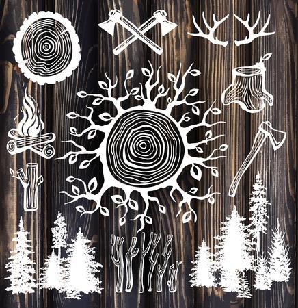 lumberjack set on the wooden background