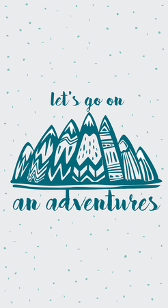Mountains and  Lets Go on an Adventures inspirational lettering Banque d'images - 115317624
